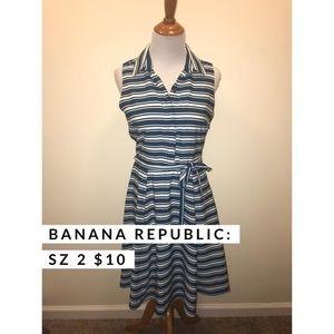 Banana Republic Blue Striped Dress Sz 2
